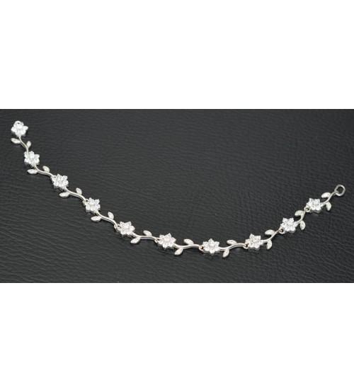 Lắc bạc tay cao cấp gắn đá trắng hình bông hoa